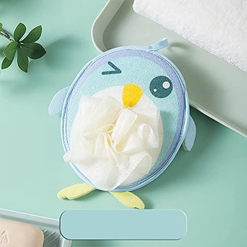 Eco Memos Manoplas exfoliantes 2 en 1 y luofas de ducha para niños – Lindo pingüino ducha malla luofah cuerpo exfoliante para piel muerta y eliminación de bronceado falso (Azul-1)