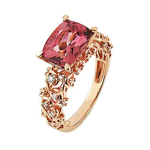 Aeici Alianzas Boda Oro rosa 18k, Anillos De Pareja Turmalina Diamante 2.3ct, Rectangular, Talla 21