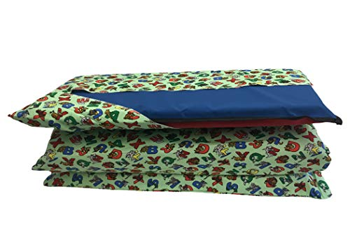 mat covers KinderMat Cover, Pillowcase Style Full Sheet for Rest Mats Roughly 19 X 45 Inches, Animal Alphabet, Beige Green
