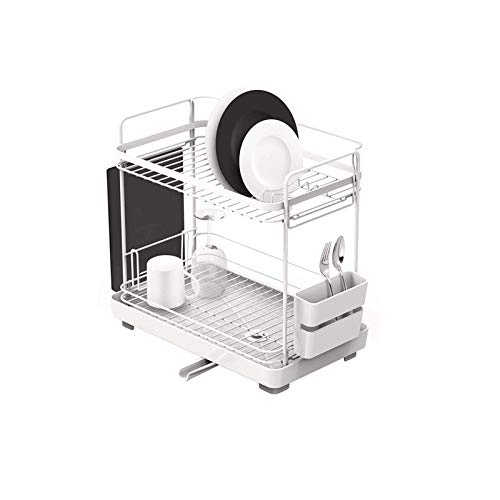 ZZWZM Kitchen Shelves-Stainless Steel Dish Drain Drying Rack Tableware Rack with Cutting Board Stand