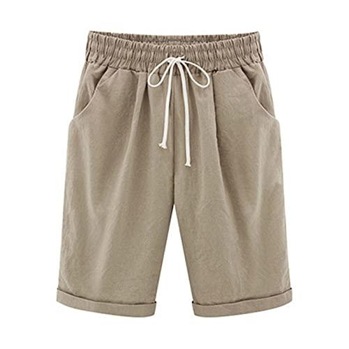 Bermuda Shorts Women Cotton Linen Elastic Waist Shorts Lounge Short Pants Plus Size Hot Pants with Pockets Khaki