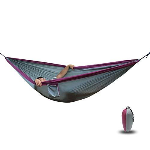 Reise Camping HäNgemattesingle Double Camping Leichte Tragbare Nylon Fallschirm HäNgematten für Outdoor Wanderungen Travel Backpacking Swing,Gray