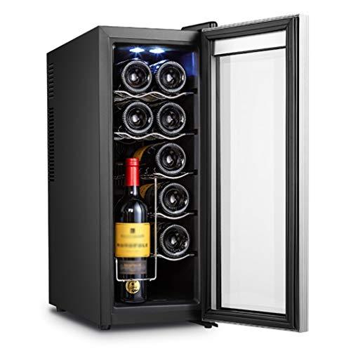 JCJ-Shop Kleiner Haushaltsweinkühlschrank 12 Flaschen (bis zu 635 mm Höhe), Temperaturzonen 8-18 ° Touchscreen-Weinkühler, WeinküHlschrank Mini, Arbeitsplatte. [Energieklasse A]