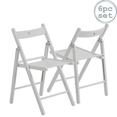Harbour Housewares Silla plegable de madera - madera blanca - 6 sillas
