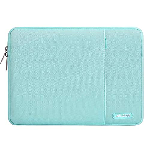 MOSISO Laptop Sleeve Compatible with 2019 2018 MacBook Air 13 inch Retina Display A1932, 13 inch MacBook Pro A2159 A1989 A1706 A1708, Notebook, Polyester Vertical Bag with Pocket, Mint Blue