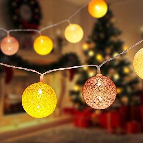 Aigostar - Guirnalda de luz LED de colores, 2 metros, luz cálida 2400 K, 10 luces LED redondas tejida en hilos de algodón. Funciona con pilas. Perfectas para decoración en casa y fiestas.