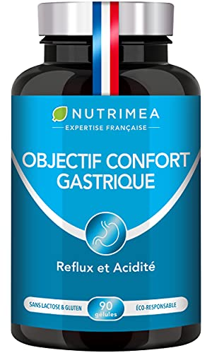 Equilibre acido-basique du corps - Effet détox - Ventre plat - Contre ballonnements, acidité gastrique et reflux - OBJECTIF CONFORT GASTRIQUE - 90 gélules végétales - Nutrimea - Fabrication Française