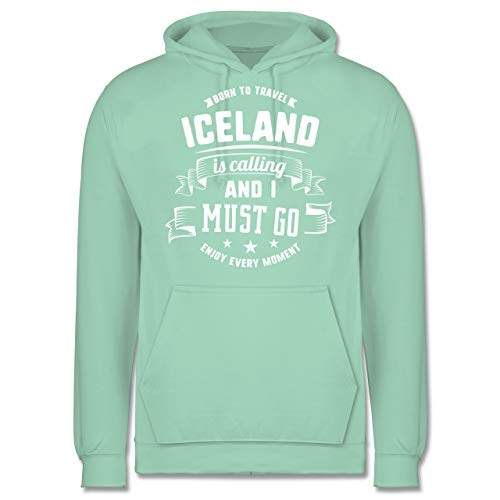 Länder - Iceland is Calling and I Must go Weiß - XXL - Mint - Iceland Pullover - JH001 - Herren Hoodie und Kapuzenpullover für Männer