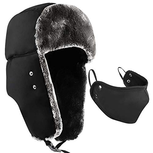 Colleer Winter Trooper Trapper Hat Cap Ushanka Russian Hats Ear Flaps Strap with Windproof Facemask Black