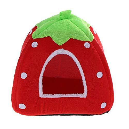 Redcolourful verwarmend in aardbeivorm, pluche, voor kleine huishond, kat, huis, Helder rood