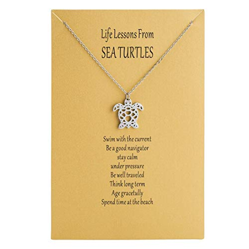 Bestill Origami Sea Turtle Pendant Necklace Age Gracetully Statement Necklace Birthday Gift with Gift Card