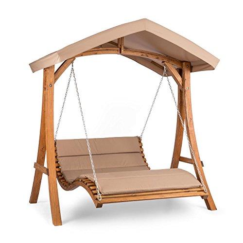 blumfeldt Bermuda - Hollywoodschaukel, Gartenschaukel, Sitzfläche:130 cm, Belastung: max. 240 kg, Lärchenholz, Weichholz, witterungsbeständig, Sonnendach, 5 cm Polyester Sitz-Kissen, beige