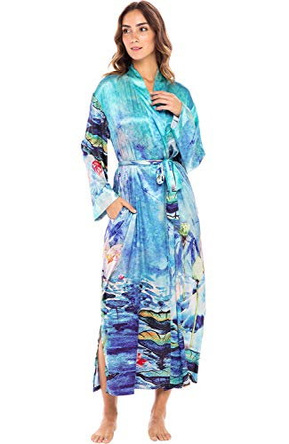 Alexander Del Rossa Women's Ankle Length Satin Kimono Robe, 3X Watercolor Raindrops (A0463W213X)