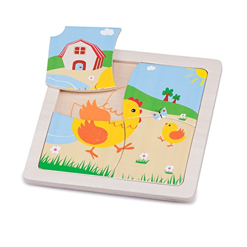 New Classic Toys Mini Puzzle Poulet Jeu Éducatif pour Enfants