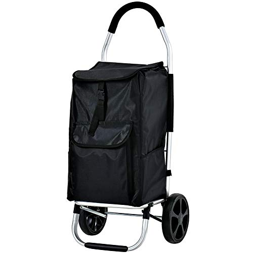 FORUP Shopping Trolley, Foldable Grocery Cart, Folding Laundry, Pull Cart with Wheels (Black)