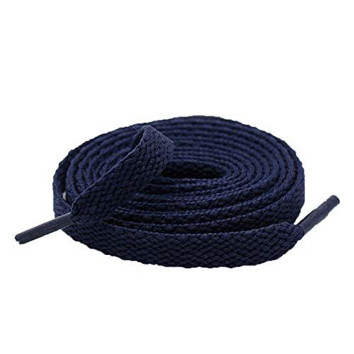 Dihope, 1 par de cordones planos duraderos para cualquier tipo de zapatillas o zapatillas. Longitud: 60 cm, 90 cm, 100 cm, 120 cm, 130 cm, 180 cm, 200 cm azul marino 200 cm
