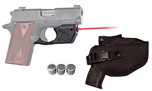 Laser Kit for SIG Sauer P238 & P938 w/Tactical Holster, Touch-Activated ArmaLaser TR8 Red Laser Sight & 2 Extra Batteries