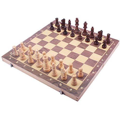 LEILEI Juego de ajedrez de Madera Plegable,Tablero de ajedrez Hecho a Mano de Madera,Juegos de Mesa para familias