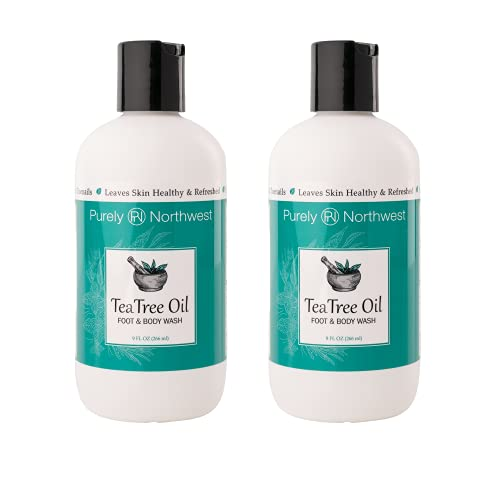 Antifungal Tea Tree Oil Body Wash-2 PACK-Helps Jock Itch, Athletes Foot, Ringworm, Toenail Fungus, Acne,Yeast Infections, Eczema, Body Odor, Soothes Itching,Great as a Shampoo- Made in the USA By Purely Northwest 18 oz