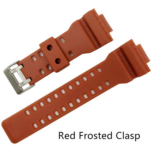 RSB 16mm Siliconen Rubber Horloge Band Band Fit Voor Casio G Shock Vervanging Zwart Waterdichte Horlogebandjes Accessoires (Band Kleur: Rood Frosted Sluiting)