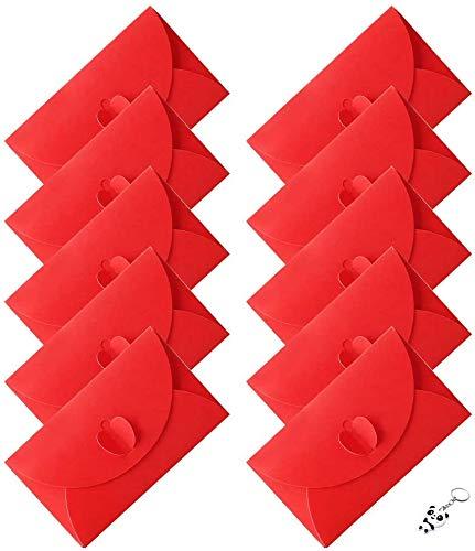 Sobres Papel Kraft Retro,COTEY 50 Piezas Sobres Papel Kraft Rojo Portátil y Práctico Sobres Hebilla en Forma Corazón para Invitaciones, Escritura, Postales, Regalos,Boda,Fiesta, Día de San Valentín