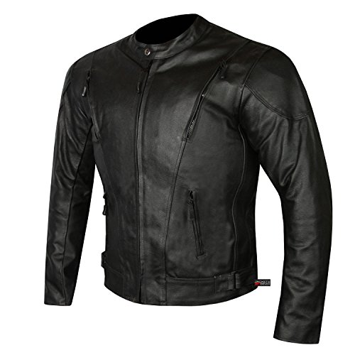 HIGHLY VENTILATED MOTORCYCLE LEATHER CRUISER ARMOR TOURING JACKET FOR MEN M