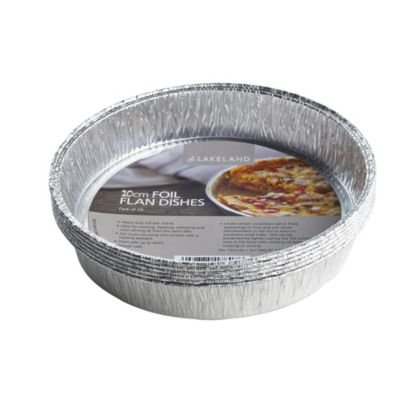 Lakeland Foil Flan Dishes, 20cm - Pack of 10 - Reusable and Recyclable