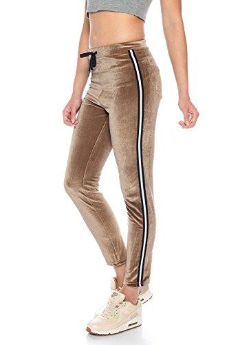 Crazy Age Damen Streifenhose aus Samt (Nicki, Velvet) Wohlfühlen mit Style. Elegant, Kuschelig, Weich. Sporthose, Jogging - Freizeit Hose (Braun, M~36)