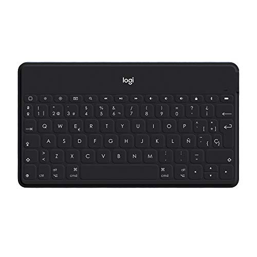 Logitech Keys-To-Go Teclado Inalámbrico Bluetooth para iPhone, iPad, Apple TV, ligero, Ultraportátil, Disposición QWERTY Español, Negro