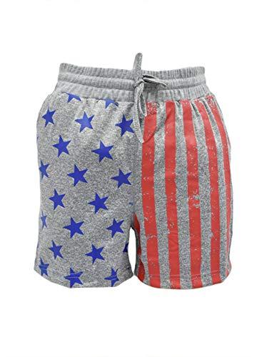 CORAFRITZ Pantalones cortos de verano para mujer, con estampado de bandera de EE. UU., cintura alta, con cordón y bolsillos laterales, pantalones cortos
