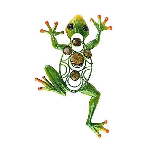 Xuebai Frog Wall Decor Outdoor Metal Art Decorative Glass Sculpture Green for Garden Frog Wall Decor Outdoor Green