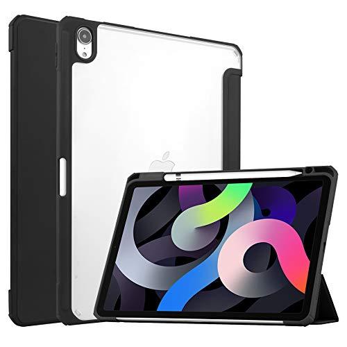 Case for iPad Air 10.9 (2020) - Tri-fold Back Cover - Transparent - Black