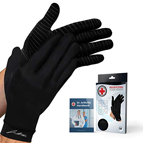 Doctor Developed Copper Gloves / Compression Gloves for Arthritis (Full-Length) and Doctor Written Handbook — Relieve Arthritis Symptoms, Raynauds Disease & Carpal Tunnel (One Pair) (M)