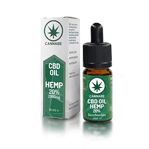CBD-20% Hemp-Oil | Olio Organico Arricchito | Prodotto in Italia | 100% Legale e Vegano | Confezione +200 gocce in 10ml - Cannabe…