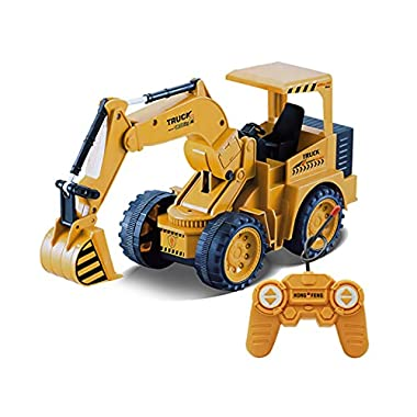 DEORBOB Children's Electric RC Excavator Truck Boys Full Functional Remote Control Die-cast Digger Vehicle Simulation…