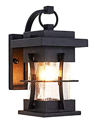 Outdoor Wall Lantern Small IP65 Waterproof Outdoor Wall Sconce, Black Metal with Clear Seeded Glass Exterior Light fixtures Outside Wall Mount for Garage Driveway Patio Porch Lighting, Black