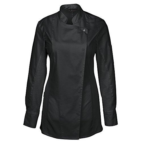 GREIFF Damen Kochjacke mit Jersey-Einsatz, längere Form | Slim Fit | Cuisine Premium | Style 5408 | Schwarz | Gr: S