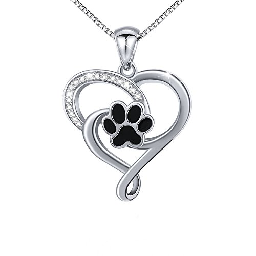 DAOCHONG Sterling Silver Puppy Dog Cat Pet Paw Print CZ Heart Pendant Necklace for Women,18 inches Box Chain