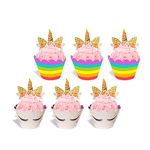 Handmade Unicorn Cupcake Toppers Cake Double Sided Wrappers for Kids Birthday Party Business Events Wedding Baby Bridal Shower Cake Decorations Set of 24
