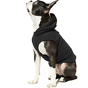 Gooby Dog Hoodie Fleece Vest – Pull Over Dog Jacket with Leash Ring – Winter Small Dog Sweater – Warm Dog Clothes for Small Dogs Girl or Boy Dog Vest for Indoor and Outdoor Use