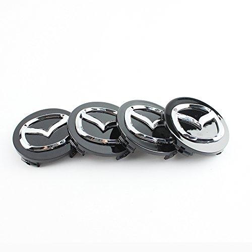 4x 56mm negro estilo tapas de llantas de aleación Centro Hub para Mazda