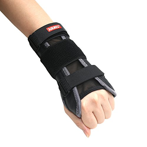 Upgrade Breathable Wrist Support Carpal Tunnel Splint Adjustable Wrist Support Brace For Pain Relief from Carpel Tunnel Syndrome,Sprain,Arthritis and Wrist Injury-One Size Fits Left Right Hand(Gray)