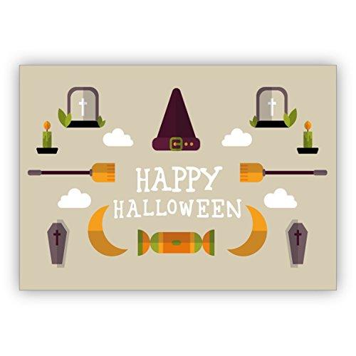 16 Stück Coole Halloween karte in beige mit Sarg, Hexen Hut und Besen: Happy Halloween