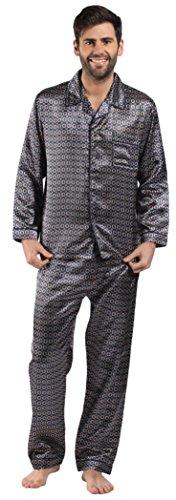 Mens/Gentlemens Nachtwäsche/Sleepwear Satin gedruckt Langarm Pyjama Anzug Satz, Verschiedene Farben & Größen