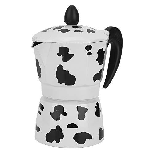 Caffettiera Express Stovetop, caffettiera, manico ergonomico facile da pulire per lavoro veloce per home cafe(3 cups milk cow color 150ML)
