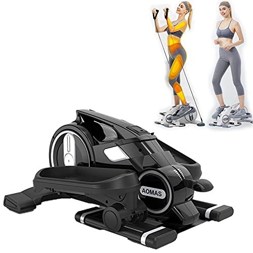 KFJCMY Elliptical Stepper Step Machine under Desk Elliptical Leg Workout Equipment - Stationary Magnetic Cycle with LCD Monitor & Resistance Bands for Arm & Leg Recovery & Therapy,Black