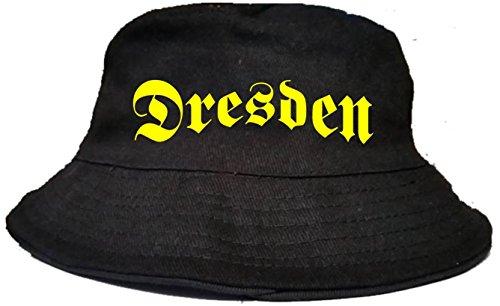 fankultur24 Fischerhut Anglerhut Sonnenhut Freizeithut Dresden (L-XL, Druckfarbe: gelb)