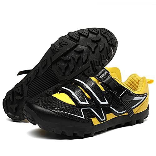 Calzado De Ciclismo para Hombre, Zapatillas MTB Planas Sin Tacon Zapato De Montar con Suela De Goma para Competiciones De Ciclismo, Carreras De Bicicletas,Amarillo,41