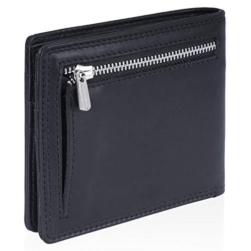 VON HEESEN Wallet mit Münzfach - 8 Fächer Kartenetui - Geldbeutel Männer mit RFID-Schutz - Made in Europe - Geldbörse Herren aus Nappa-Leder (Schwarz)