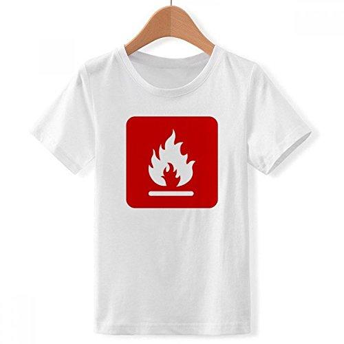 DIYthinker jongens vuur rode plaats waarschuwing Mark Crew Hals witte T-shirts